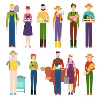 Lustiger landwirtcharakter lokalisierte karikaturmann-landwirtschaftsperson und ländliche landwirtschaftsgärtnerarbeitskraftleute des glücklichen viehzüchterberufs