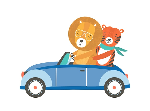 Lustiger löwe und tiger in der flachen vektorillustration des autos. nette freunde, die automobilzeichentrickfilm-figuren reiten. süße wilde tiere auf roadtrip. entzückende zoobewohner mit transport. urlaubsreise.