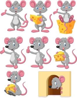 Lustiger mäusesammlungssatz der karikatur