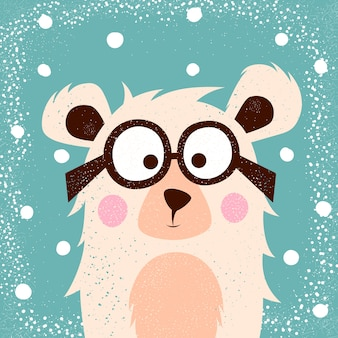 Lustiger, niedlicher bär mit gläsern für druckt-shirt.