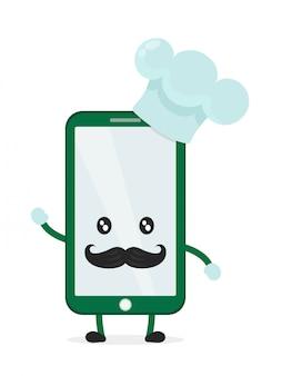 Lustiger niedlicher smartphone-telefonkoch in haube und schnurrbart. auf weißem hintergrund lokalisiert. aufruf des lebensmittelkonzepts