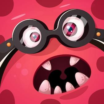 Lustiger, niedlicher verrückter monstercharakter. halloween-abbildung.
