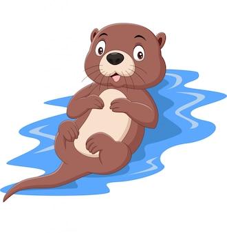 Lustiger otter der karikatur, der auf wasser schwimmt