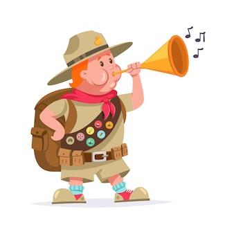 Lustiger pfadfinderjunge mit abzeichen und blasen in die trompete. zeichentrickfigur lokalisiert auf weißem hintergrund.