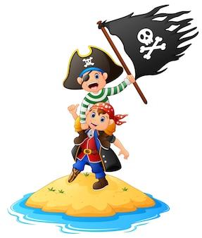 Lustiger pirat zwei mit dem halten der piratenflagge