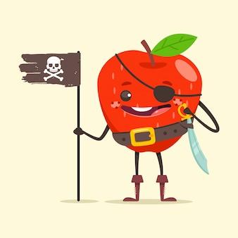Lustiger piratenapfel in augenklappe, schwert und schwarzer flagge mit totenkopf. nette fruchtseeräuberkarikaturfigur lokalisiert auf hintergrund.