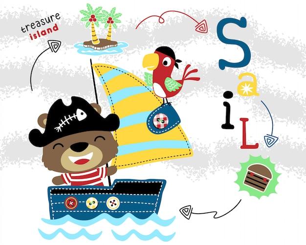 Lustiger piratenkarikatur auf segelboot