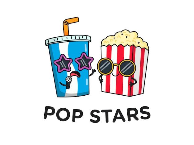 Lustiger popcorn und trinke popstars