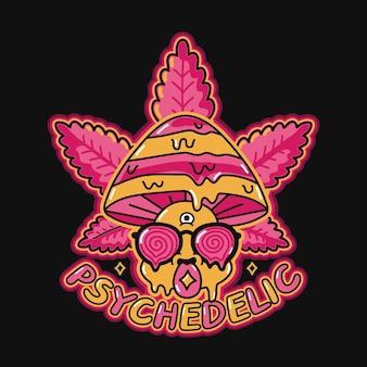Lustiger psychedelischer zauberpilz mit säurefleck auf der zunge