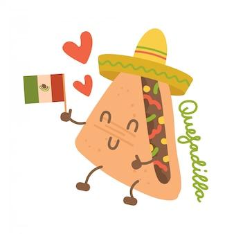 Lustiger quesadilla-charakter der karikatur im mexikanischen hut mit kawaii gesicht, händen und beinen. hand gezeichnete niedliche emoji. flache emoticon-illustration des mexikanischen fastfoods.