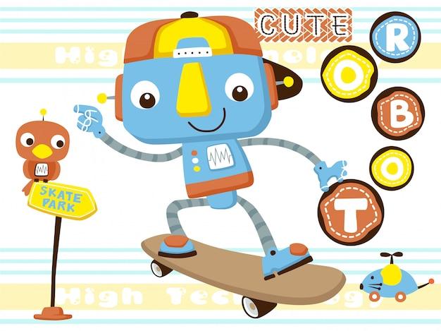 Lustiger roboter, der skateboard spielt