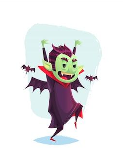 Lustiger schleichender vampir, umgeben von fledermaus-karikatur-halloween-illustration