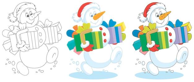 Lustiger schneemann, der mit weihnachtsgeschenkkarikatur freundlich lächelt und geht
