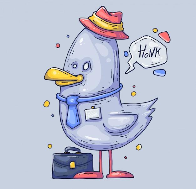 Lustiger seemöwenmanager. vogel in einem hut. cartoon-abbildung. zeichen im modernen grafikstil.