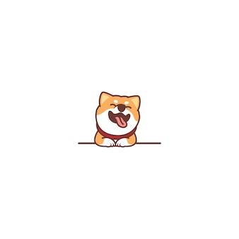 Lustiger shiba inu hund, der über wandkarikatur lächelt