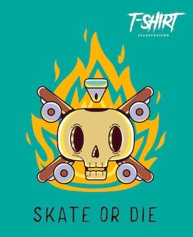 Lustiger skeleton-skater. bedrucken sie t-shirts, sweatshirts und souvenirs. vektor-illustration.