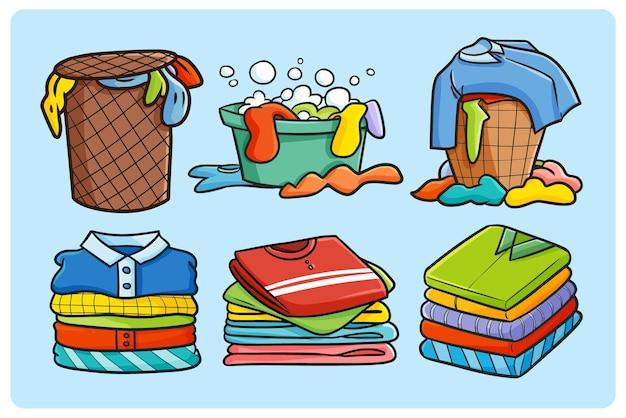 Lustiger stapel der wäschesammlung im gekritzelstil