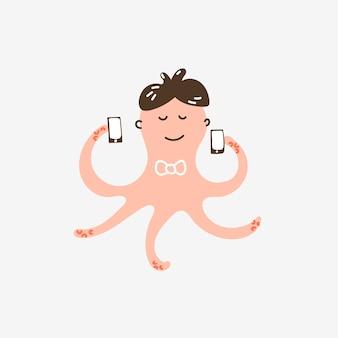 Lustiger süßer charakter rosa tintenfisch, der mehrere telefone spricht