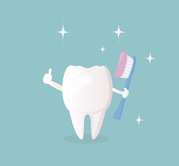 Lustiger süßer charakter weißer gesunder zahn, der eine zahnbürste mit paste hält