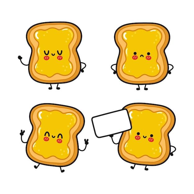 Lustiger süßer fröhlicher toast mit honigzeichen-bündelset
