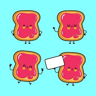 Lustiger süßer fröhlicher toast mit marmeladenzeichen-bündelset