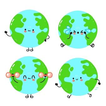 Lustiger süßer glücklicher planet erde zeichentrickfiguren-set