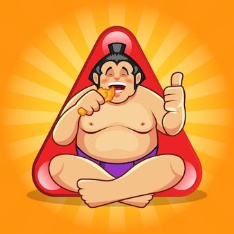 Lustiger sumo, der gebratenes huhn isst, das daumen hoch-zeichen gibt