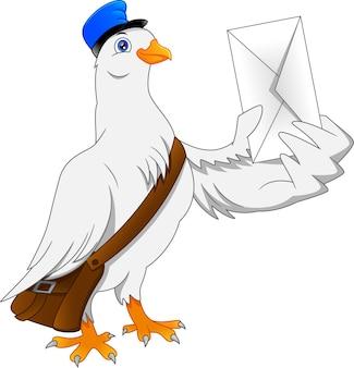 Lustiger taubenvogel der karikatur, der brief liefert