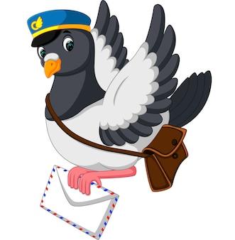 Lustiger taubenvogel der karikatur, der buchstaben liefert