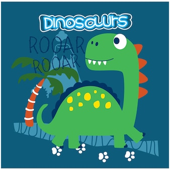 Lustiger tierkarikatur des dinosauriers