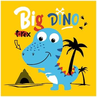 Lustiger tierkarikatur des großen dinosauriers