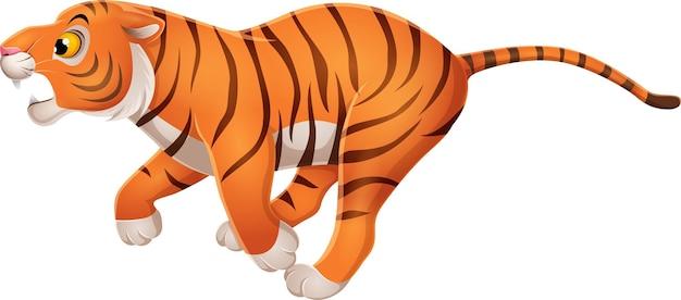 Lustiger tiger der karikatur, der auf weiß läuft