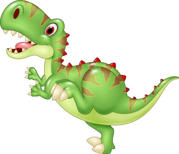 Lustiger tyrannosaurus der karikatur. getrennt auf weißem hintergrund