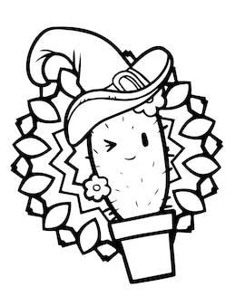 Lustiger und niedlicher kawaii lächelnder kaktus mit topf, der hexenhut für halloween trägt - malvorlagen