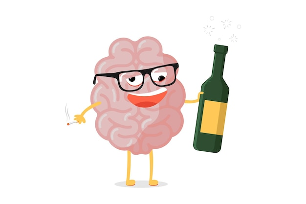 Lustiger ungesunder gehirncharakter der karikatur. krankes betrunkenes maskottchen der menschlichen anatomie mit alkoholflasche und zigarette. vektor-illustration