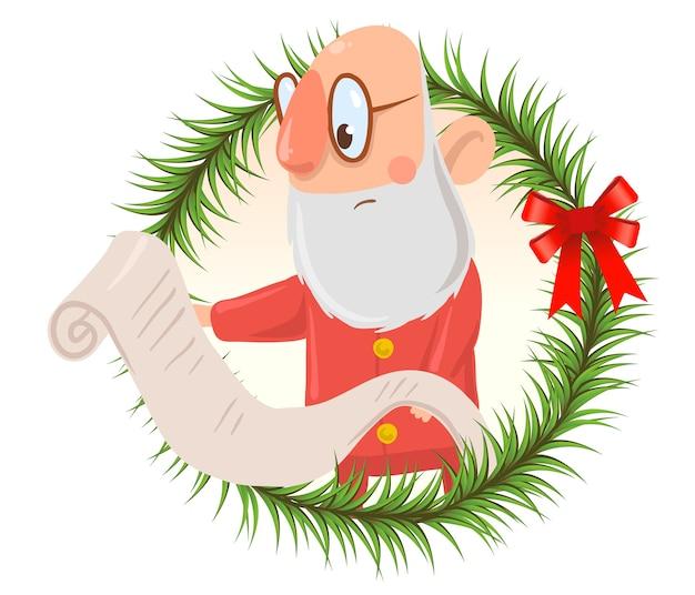 Lustiger verwirrter weihnachtsmann in gläsern liest lange liste der wünsche. auf weißem hintergrund isoliert. rundes gestaltungselement, rahmen aus tannenzweigen. zeichentrickfigur illustration.
