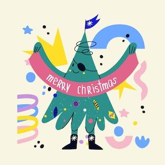 Lustiger verzierter weihnachtsbaumcharakter mit gesicht, handbeinen. handgezeichneter vektor-tannenbaum, der emotionen zeigt. weihnachts- und neujahrsdruck zum gruß von autos, t-shirts, postern. tanzender cartoon-weihnachtsbaum