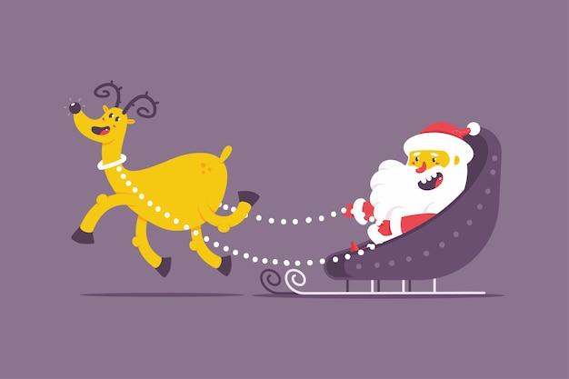 Lustiger weihnachtsmann auf weihnachtsschlitten mit rentiervektor-zeichentrickfigur isoliert auf
