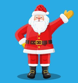 Lustiger weihnachtsmann-charaktergruß. der weihnachtsmann winkte hände lokalisierten blauen hintergrund. frohes neues jahr dekoration. frohe weihnachten. neujahrs- und weihnachtsfeier.