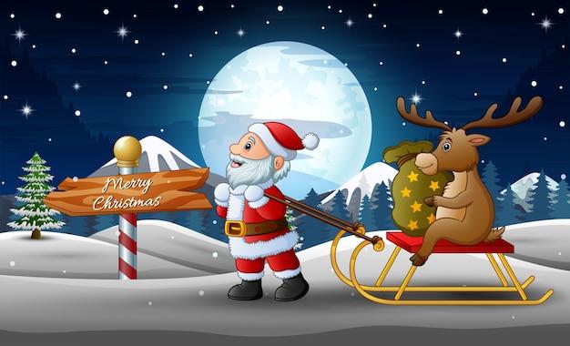 Lustiger weihnachtsmann der karikatur, der einen pferdeschlitten mit einem rotwild mit sack geschenken zieht