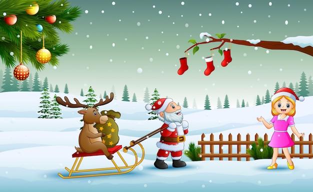 Lustiger weihnachtsmann der karikatur, der ren auf einem pferdeschlitten mit sack geschenken und dem mädchen zieht