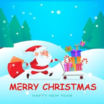 Lustiger weihnachtsmann, der mit einkaufswagen voller geschenke läuft