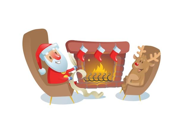 Lustiger weihnachtsmann, der mit seinem hirschfreund am kamin sitzt. bunte flache illustration. auf weißem hintergrund isoliert.