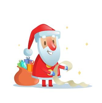 Lustiger weihnachtsmann, der seine liste überprüft. cartoon weihnachtskarte. bunte flache illustration. auf weißem hintergrund isoliert.