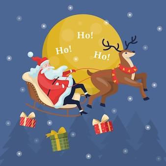 Lustiger weihnachtsmann im schlitten und im laufenden hirsch. weihnachtsfigur mit geschenk, das im schnee reitet. winterferienfeier. weihnachtskartenhintergrund. illustration