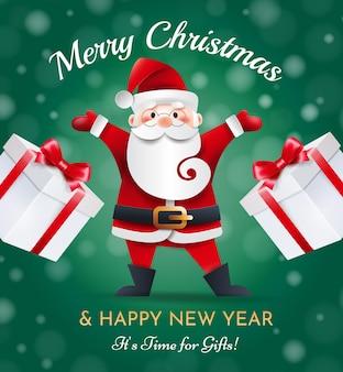 Lustiger weihnachtsmann mit geschenken auf einem grünen hintergrund. weihnachtsgrußkarte.