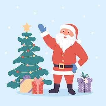 Lustiger weihnachtsmann mit geschenken weihnachtsgrußkartenhintergrundplakat vektorillustration