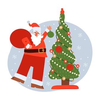 Lustiger weihnachtsmann mit großem rotem sack, der weihnachtsbaum mit feiertagsspielwaren nettem winterurlaub schmückt ...