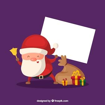 Lustiger weihnachtsmann mit leerem zeichen