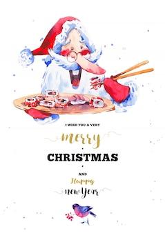 Lustiger weihnachtsmann mit sushi und rollen